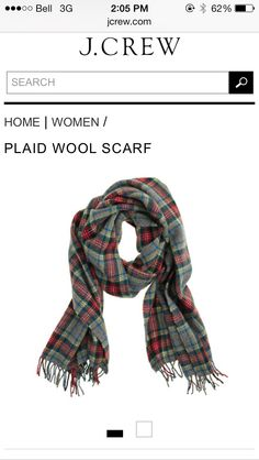J.Crew plaid wood scarf ,green and red , feel so warm in the winter