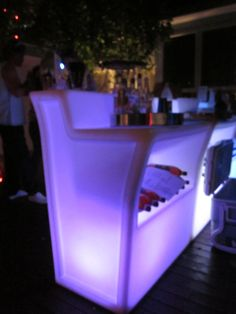 the illuminated furniture came with remote controls to change the colours throughout the night