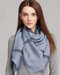 Burberry Overdyed Chambray Check Square Scarf