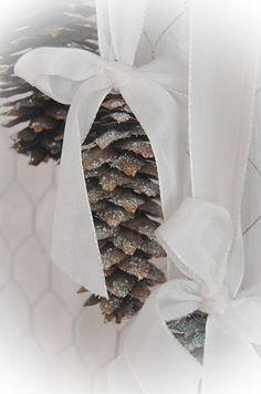DIY:: Pine-cones Tied With Satin Decor