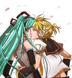 Miku and Len | Tags: Anime, Fanart, Hatsune Miku, Vocaloid, Kagamine Len