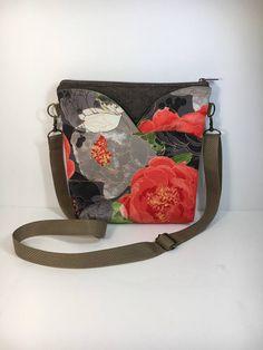 Tangerine and Gray~Large Floral~CROSSBODY~HIPSTER~Shoulder Bag~Cross Body Bag~Travel Bag~ Bags & Purses~Handbags~Handmade Fabric Bag
