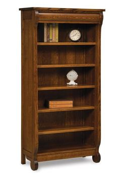 Amish Old Classic Sleigh Bookcase Sleigh style storage full of charm! Picture your books stored here. Available in 5 ft or 6 ft. Choice of wood, finish and hardware. Option to add glass doors. Amish made bookcases are stunning works of art. Large Bookcase, 5 Shelf Bookcase, Bookcases, Amish Furniture, Solid Wood Furniture, Office Furniture, White Oak Wood, Dark Wood, Amish Crafts
