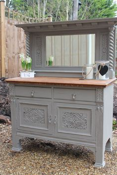 Shabby chic solid oak Victorian dresser sideboard buffet painted in Annie Sloan's French Linen with a stripped oak top - SOLD