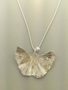 Etched Gingko Leaf necklace by AnnCarneyDesigns on Etsy
