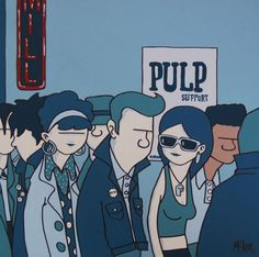 Trip down memory lane. Queuing at the Leadmill in Sheffield. Art by McKee.