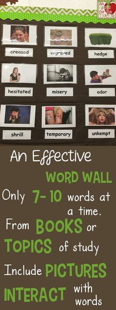 Word Walls can be used to improve literacy in all curriculum areas by helping students build vocabulary, improve spelling in written work, and explain ideas through oral communication. When I firs Vocabulary Word Walls, Vocabulary Building, Teaching Vocabulary, Teaching Writing, Student Teaching, Teacher Blogs, Classroom Teacher, Classroom Ideas, Classroom Word Wall