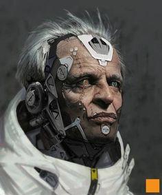 old man robot CG concept