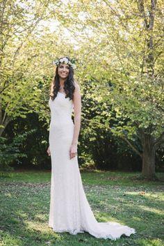 Bride in one shouldered dress
