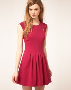 Ted Baker zip & pleat dress