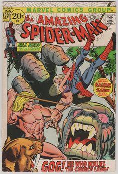 Amazing Spider-Man; V1, 103, libro de historietas de la edad del bronce.  FN/VF.  Diciembre de 1971.  fue escrito por Roy Thomas, arte por Gil Kane. Co-Starring Ka-Zar con la primera aparición de Gog.