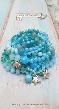 Turquoise BOHO CHIC Necklace and Bracelet, Aqua Beaded Necklace with Gemstones and Glass, Myrtos Beach Necklace by VintageRoseGallery Etsy Jewelry, Boho Jewelry, Beaded Jewelry, Vintage Jewelry, Handmade Jewelry, Beaded Necklace, Nice Jewelry, Handmade Accessories, Handmade Items