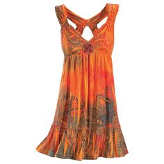 Sacral Orange Dress.  A dress as artistic as you are! Attuned to the sacral chakra center of creativity, the vibrant oranges of this racer-back, halter-top dress pamper you in soft, jersey knit, flocked at the hem and printed all around in paisleys and butterflies. Note the five stone cabochons centering the front! Elasticized, crisscross back. Polyester/rayon/spandex. Hand Wash. Made in USA. Color: Orange. Sizes: XS (2-4), S (6-8), M (10-12), L (14-16), XL (18), 1X (18W-20W), 2X (22W-24W)…