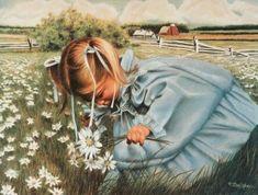 Katies Garden - Don Marco Crayon drawing girl in blue dress picking flowers.