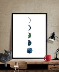 Moon Phases Art Print Watercolor Moon Moon Poster by FineArtCenter
