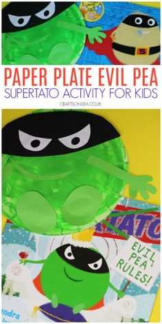 Supertato Activities for Kids: Paper Plate Evil Pea Craft #kidscrafts #preschool