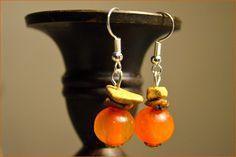 """Boucles d'oreilles ambre et pierres naturelles """"Cairns"""" - Bijoux TessNess : Boucles d'oreille par tessness"""