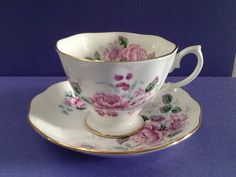 Royal Albert Cabbage Rose Bone China England Teacup and Saucer Vintage and Collectible by Whitepearlfinds on Etsy