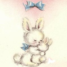 Kissing Bunnies Vintage  Card