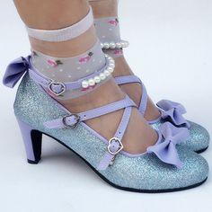 Custom Made Mermaid Blingbling Blue Bow Shoes SP168016