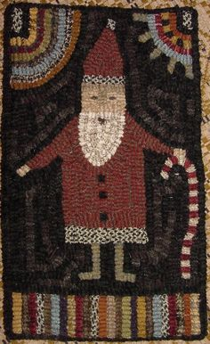 The Red Saltbox Candy Cane Santa Rug Hooking Pattern Christmas Rugs, Christmas Ideas, Latch Hook Rugs, Rug Hooking Patterns, Hand Hooked Rugs, Penny Rugs, Primitive Crafts, Wool Applique, Yarn Crafts