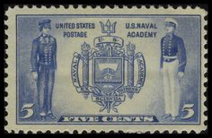 Stamp collecting is wonderful way to learn history. From 1936 to 1937, the U.S. Post Office issued a series of ten commemorative postage stamps featuring military heroes from the Revolutionary War through the Spanish-American War. The five-cent Navy stamp pays tribute to the United States Naval Academy in Annapolis, Maryland, the nation's second-oldest service academy. Starting with the official USNA seal on the stamp, you can learn some of the history of the Naval Academy.