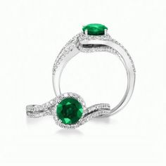 Caress - Emerald engagement ring in white gold