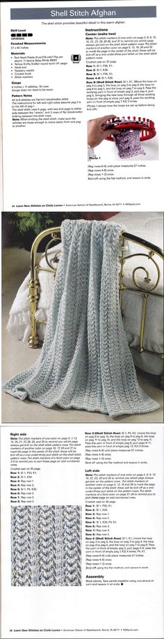 Learn New Stitches on Circle Looms by Anne Bipes: Shell Stitch Afghan