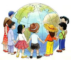 """""""HAPPY Children's Day :) Have fun w/ your kids today & not only today :) to International Children's Day, School Murals, Globe Art, Kids Background, Happy Children's Day, World Crafts, Operation Christmas Child, Thinking Day, We Are The World"""