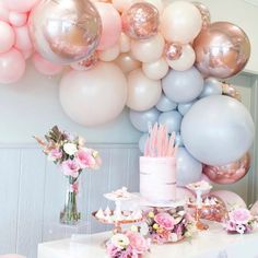 """The Original Party Bag Company on Instagram: """"Always a favourite colour combination 💕 @lifeslittlecelebrations #rosegold #pastel #balloongarland #partydecorations #partyideas #OPBCo 💫"""""""