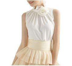 HIGH COLLAR ROSETTE BLOUSE   WHITE/WHITE ROSE. I would wear a corset over this