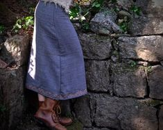 Grey skirt made of Fair Trade pure wool form mountains with Embroidery Warm Cozy Winter cloth Eco fr Black Friday Shopping, Warm And Cozy, Cozy Winter, Native American Fashion, Gray Skirt, Fair Trade, Aztec, Organic Cotton, Winter Outfits