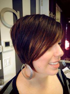 Beautiful about asymmetrical cut with Balayaged highlights   By Stylist Leah Villagran Stella Salon in Sacramento Ca Stellathesalon.com