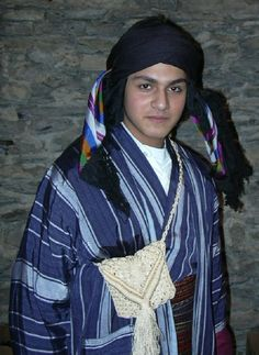Traditional Kurdish costume from the Mardin region.  This is an accurate copy, made (in the Kavak workshop) in 1994, of original costumes that are still worn today.  The 'poşi' (head scarf) comes from a weaving mill in Urfa.   (Kavak Costume Collection-Antwerpen/Belgium).