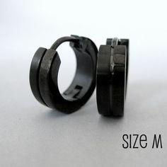 Mens Earrings Black Huggie Hoop - Ear Cartilage Piercing - Guys Cyber Corp Gothic Punk Rock - Stainless Steel - Medium HalfHalf no.153