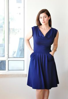 Blue Cowl Neck DressBlue Party Dress / Cocktail Dress/ by Lirola