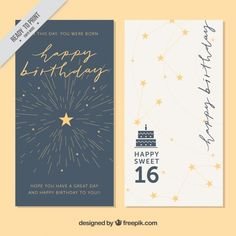Stylish greeting cards with stars Free Vector