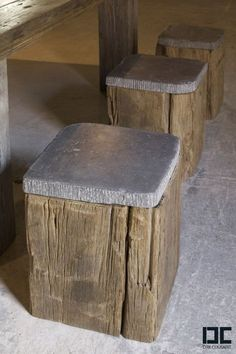 Outdoor Seating - Stool - Wood & Concrete - Possible DIY Concrete Furniture, Garden Furniture, Diy Furniture, Furniture Design, Concrete Wood, Stamped Concrete, Concrete Bar Top, Drawing Furniture, Modern Wood Furniture