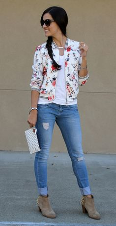 Floral Bomber Jacket- I like the striped ribbing! Bomber Jacket Outfit, Floral Bomber Jacket, Cute Casual Outfits, Everyday Outfits, Casual Looks, Dress To Impress, Spring Outfits, Fashion Outfits, Clothes