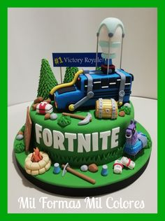 Fortnite Cake by Mil Formas Mil Colores - Fortnite Cake. Fortnite Cake by Mil Formas Mil Colores – Fortnite Cake by Mil Formas Mi 9th Birthday Parties, Birthday Cake, 10th Birthday, Pokemon Birthday, Bus Cake, Cupcake Cakes, Cupcakes, Novelty Cakes, Cakes For Boys