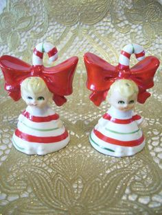VTG Lefton Christmas Green Red Candy Cane Girl Angel S & P Shakers Figurine