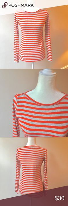 J.Crew Factory Boatneck Artist Tee Red Gray Stripe J.Crew Factory Boatneck Artist Tee Red Gray Stripe Sz Small. 100% cotton. ID3 ✨Offers always welcome✨ SOLD OUT AT JCREW J. Crew Factory Tops Tees - Long Sleeve