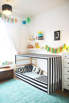 An IKEA Kura bed hack in a child's room featuring a black and white striped fabric canopy. Kura Cama Ikea, Girls Bedroom, Bedroom Decor, Bedroom Shelves, Ikea Bedroom, Canopy Bedroom, Bedroom Furniture, Furniture Ideas, Funny Furniture