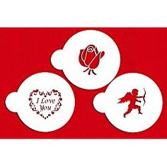 Designer Stencils I Love You Cookie Stencils, (Cupid, Rose, Heart), Beige/semi-transparent *** Awesome deals : Baking desserts tools Cookie Decorating Supplies, Decorating Tools, Valentines Day Cookies, Valentine Cake, Iced Cookies, Cupcake Cookies, Cupcakes, Buy Cake, Thing 1