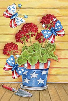 Toland Home Garden Patriotic Pail Flag - 119826 4th Of July Fireworks, Fourth Of July, Vintage Bunting, Chalkboard Banner, Merry Christmas Love, Flags For Sale, Holly Wreath, Patriotic Decorations, House Flags