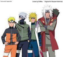 Naruto, Kakashi, Minato e Jiraiya