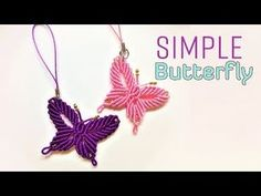 Macrame tutorial - how to make a Simple butterfly keychain - Hướng dẫn thắt dây móc khóa con bướm - Смотреть видео бесплатно онлайн Macrame Bracelet Patterns, Macrame Patterns, Macrame Jewelry, Macrame Bracelets, Crochet Keychain, Diy Keychain, String Crafts, Yarn Crafts, Micro Macrame Tutorial