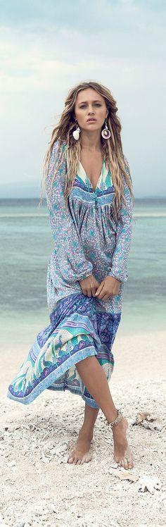 Blue boho summer dress, perfect for the beach.