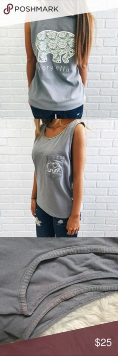 Ivory Ella Granite Geranium Garden Tank Authentic. Gray pocket tank. Floral, mandala print elephant. Minor discoloration near the armpits. See photo. Ivory Ella Tops Tank Tops