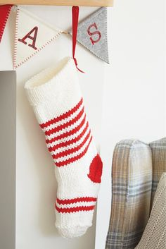 These Christmas stockings are knitted in easy stocking stitch and are worked in a chunky yarn, so they're really quick to make if you're under pressure to knit lots of lovely gifts